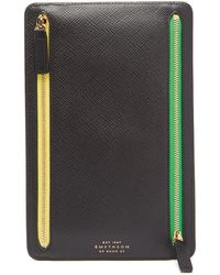 Smythson Panama Small Leather Currency Case - Black
