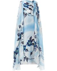 Rodarte ハンドペイント フローラルシルクドレス - ブルー