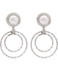 Alessandra Rich Faux Pearl Crystal Hoop Drop Earrings - Metallic