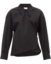Lemaire Point-collar Cotton-poplin Wrap Shirt - Blue