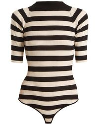 Khaite - Constance Striped Ribbed Knit Wool Blend Bodysuit - Lyst