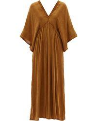 Mes Demoiselles バットウイングスリーブ バイアスカット ツイルドレス - ブラウン