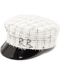 Ruslan Baginskiy Vinyl-peak Cotton-blend Tweed Baker Boy Hat - White
