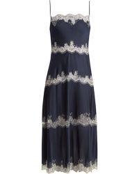 Carine Gilson - Tiered Lace-trimmed Silk-satin Cami Dress - Lyst