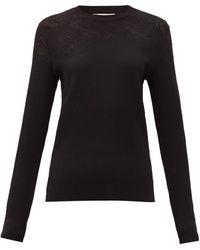 Givenchy フローラル リブニットセーター - ブラック