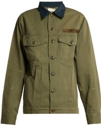 MYAR - Contrast Collar Cotton Blend Military Jacket - Lyst