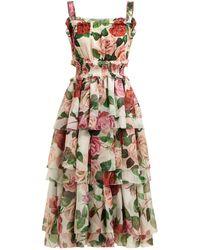Dolce & Gabbana Rose Print Tiered Silk Chiffon Midi Dress - Multicolor