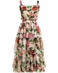 Dolce & Gabbana Rose-print Tiered Silk-chiffon Midi Dress - Multicolour