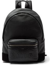 Amiri エンボスロゴ グレインレザー バックパック - ブラック