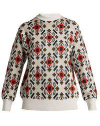 Toga - - Intarsia Knit Wool Jumper - Womens - White Multi - Lyst
