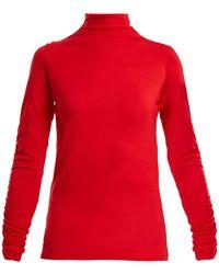 Preen Line - Zahara High-neck Ruffled Jersey Top - Lyst
