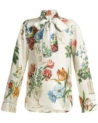a33889e68bd8 Dolce   Gabbana - Floral And Vase Print Silk Blouse - Lyst