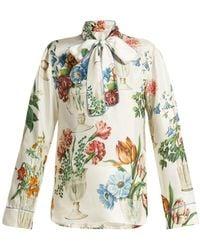 220ba09334d Dolce   Gabbana - Floral And Vase Print Silk Blouse - Lyst