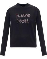 Bella Freud フラワー パワー メリノウールセーター - ブラック
