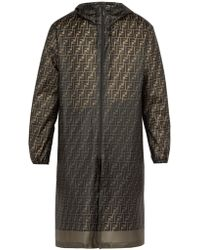 Fendi - Logo Print Raincoat - Lyst