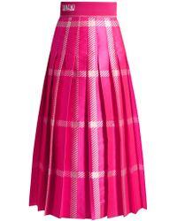Fendi - Logo-jacquard Checked Pleated Midi Skirt - Lyst