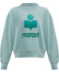 Étoile Isabel Marant Moby Flocked-logo Cotton-blend Sweatshirt - Blue