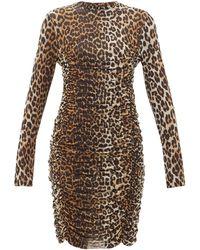 Ganni Leopard-print Ruched Mesh Dress - Brown