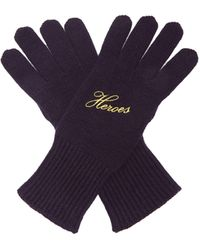 Raf Simons Heroes Embroidered Wool-blend Gloves - Blue