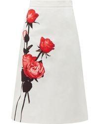 Prada Divisa A Line Cotton Midi Skirt - White