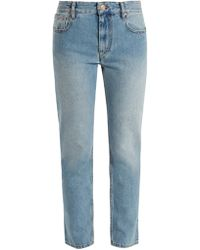 Cliffy Embroidered High-Waist Slim-Leg Jeans Isabel Marant 3HoHE5K0qr