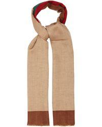 Gucci Web-stripe Linen-blend Scarf - Brown