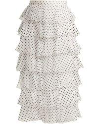 Rodarte Flocked Polka Dot Chiffon Skirt - White