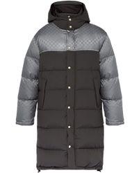 Gucci Logo Jacquard Down Filled Coat - Gray