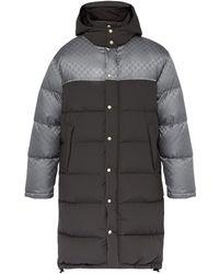 Gucci Logo-jacquard Down-filled Coat - Gray