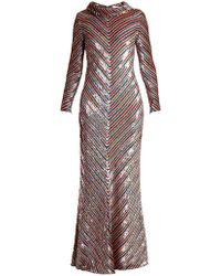 Ashish - Rainbow-striped Sequin-embellished Silk Maxi Dress - Lyst