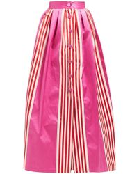 Marta Ferri High Rise Striped Silk And Cotton Blend Maxi Skirt - Pink
