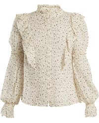 Rebecca Taylor Star Print Silk Blend Blouse - Natural
