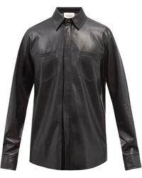 Nanushka パッチポケット フェイクレザーシャツ - ブラック