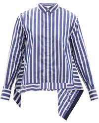 Sacai ストライプ&アイレット コットンポプリンシャツ - ブルー