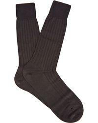 Pantherella - Asberley Ribbed Silk Blend Socks - Lyst