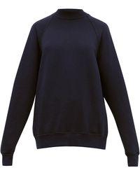 Les Tien ハイネック ブラッシュドバックコットン スウェットシャツ - ブルー