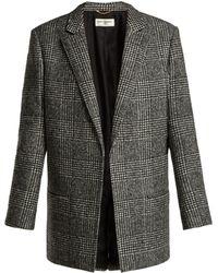 Saint Laurent - Prince Of Wales Check Wool Blend Jacket - Lyst