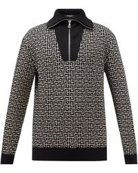 Balmain モノグラムジャカード ジップアップセーター - ブラック