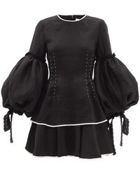 Aje. Robe courte en lin à manches ballon Gracious - Noir