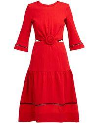 Zeus+Dione Parthenon Buckled Plissé Dress - Red
