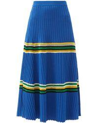 Wales Bonner Saint Ann Crochet-panel Rib-knitted Skirt - Blue