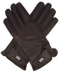 Burberry Technical Panel Leather Gloves - Black