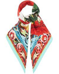 Dolce & Gabbana フローラル シルクスカーフ - レッド