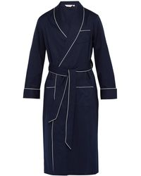 Derek Rose Polka-dot Jacquard-stripe Cotton Robe - Blue