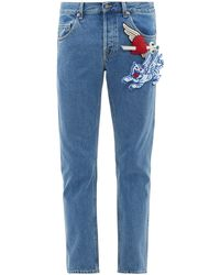 Gucci Padded-appliqué Tapered Cotton Jeans - Blue