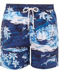 Polo Ralph Lauren Flying Fish Tropical Wave-print Swim Shorts - Blue
