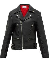 Raey Tumbled-leather Biker Jacket - Black