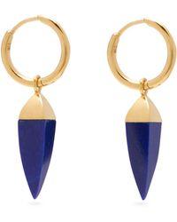 Theodora Warre - Lapis Lazuli Spike Gold Plated Hoop Earrings - Lyst