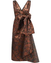Erdem Rosalie Sash-waist Floral-brocade Tea Dress - Brown
