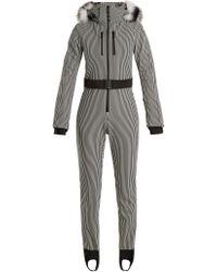 Fendi - Fur-trimmed Striped Ski Jumpsuit - Lyst